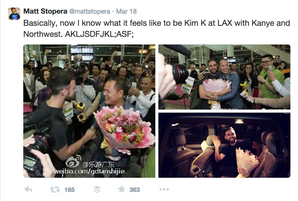 """Matt Stopera's tweet when he met """"Brother Orange"""" in China."""